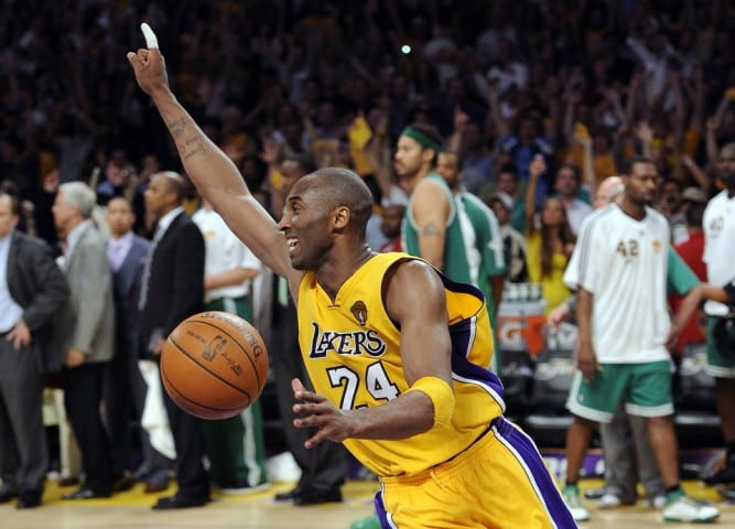 3f9de8d50b8f Los Angeles Lakers guard Kobe Bryant reacts astime runs out of Game 7 of the  NBA