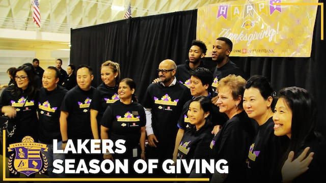 Video: Brandon Ingram, Thomas Robinson Serve Lakers Thanksgiving Feast