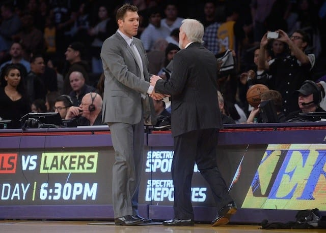 Lakers News: Spurs' Gregg Popovich Impressed By Luke Walton & Young Core