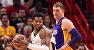 Timofey Mozgov Hassan Whiteside Lakers Heat