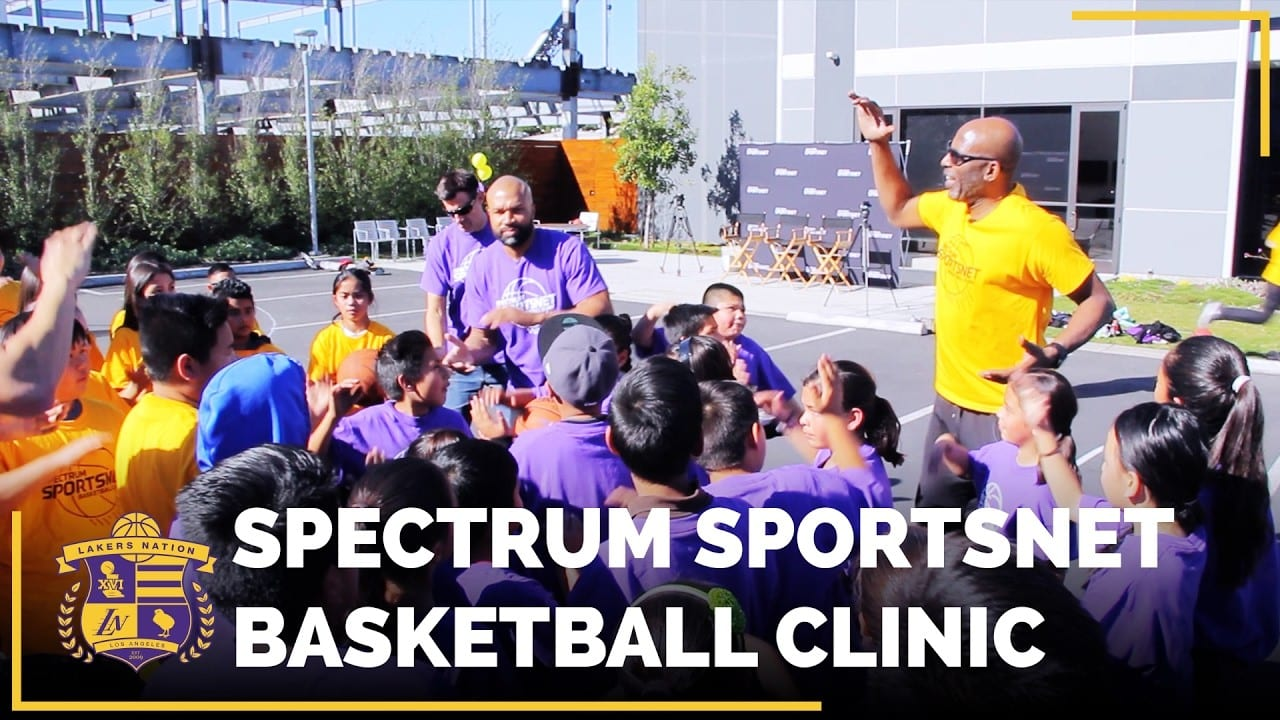 Parking Lot Turned Basketball Clinic, With Derek Fisher & James Worthy