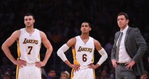 Luke Walton, Jordan Clarkson, Larry Nance Jr, Lakers