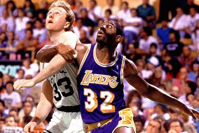 Magic Johnson Larry Bird Lakers Celtics