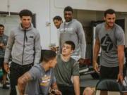 Lonzo Ball, Kyle Kuzma, Ivica Zubac, Thoma Bryant, Larry Nance Jr Lakers