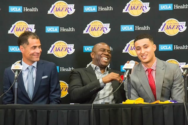 Magic-johnson-kyle-kuzma-rob-pelinka
