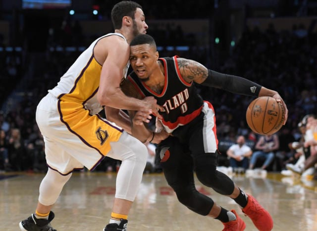 Larry Nance Jr. Damian Lillard Lakers Trail Blazers