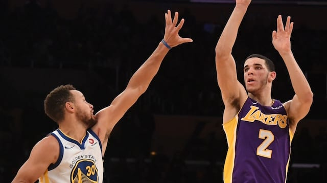 Lonzo Ball Stephen Curry Lakers
