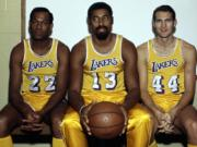 Jerry West, Wilt Chamberlain, Elgin Baylor Lakers
