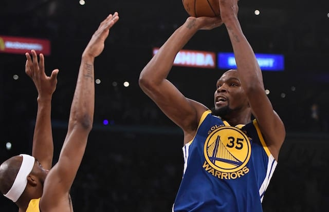 1c1359f80c3f Kevin Durant Attributed High-Volume Shooting Against Lakers To Kobe Bryant  Jersey Retirement Night