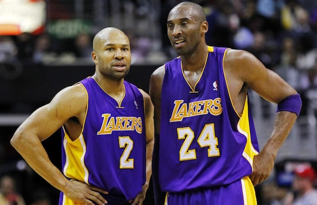 7b3863d798e Lakers News: Derek Fisher Calls Retiring Both Of Kobe Bryant's Jerseys  Safe, But Would Pick No. 24 Over No. 8. Geoff Burke-USA TODAY Sports