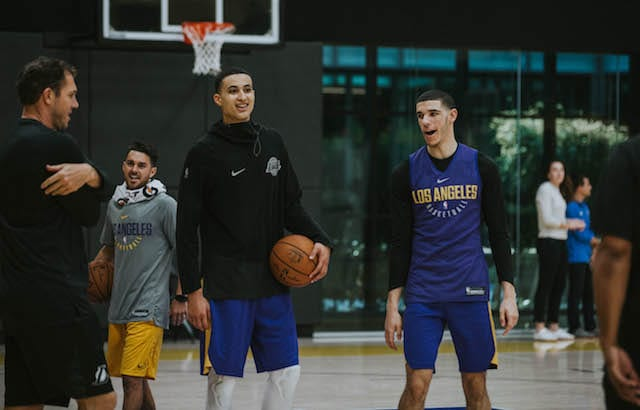 Lonzo Ball, Kyle Kuzma, Lakers practice