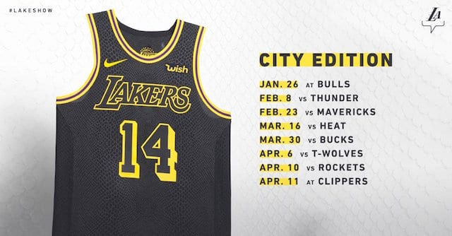 a04e860cf0b Games Lakers Will Wear Nike  The City Edition  Black Mamba Jerseys ...