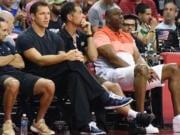 Magic Johnson, Jesse Mermuys, Rob Pelinka, Luke Walton, Lakers