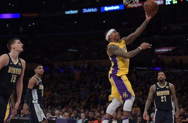 fce73e72c Lakers Video  Isaiah Thomas Smiles After Beating Nuggets  Nikola Jokic Off  Dribble
