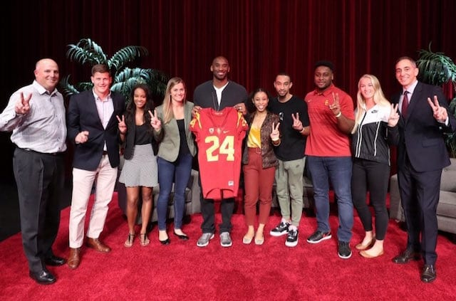87472a5f950 Lakers News: Kobe Bryant Receives No. 24 Trojans Jersey From USC Head Coach  Clay Helton