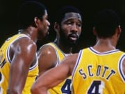 Magic Johnson, Byron Scott, James Worthy, Lakers