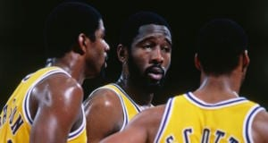 Magic Johnson, Byron Scott, James Worthy, Lakers