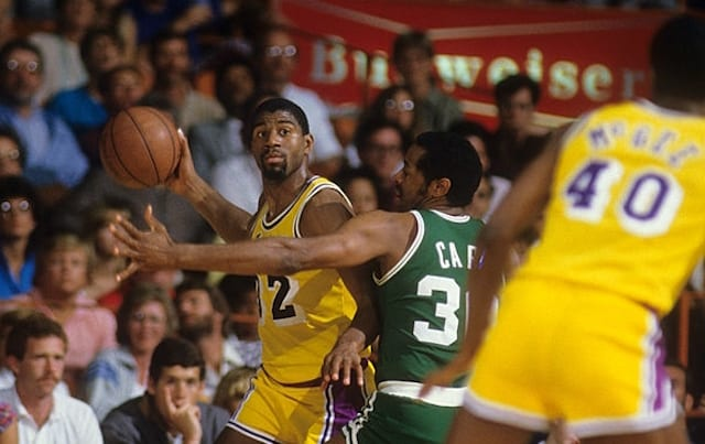 a8e428468 This Day In Lakers History  Magic Johnson Sets NBA Finals Record With 21  Assists Against Celtics