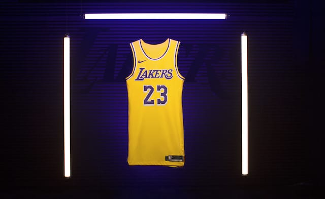 new concept c4758 83ce6 FIRST LOOK: LeBron James Wears New Lakers Nike Jersey ...
