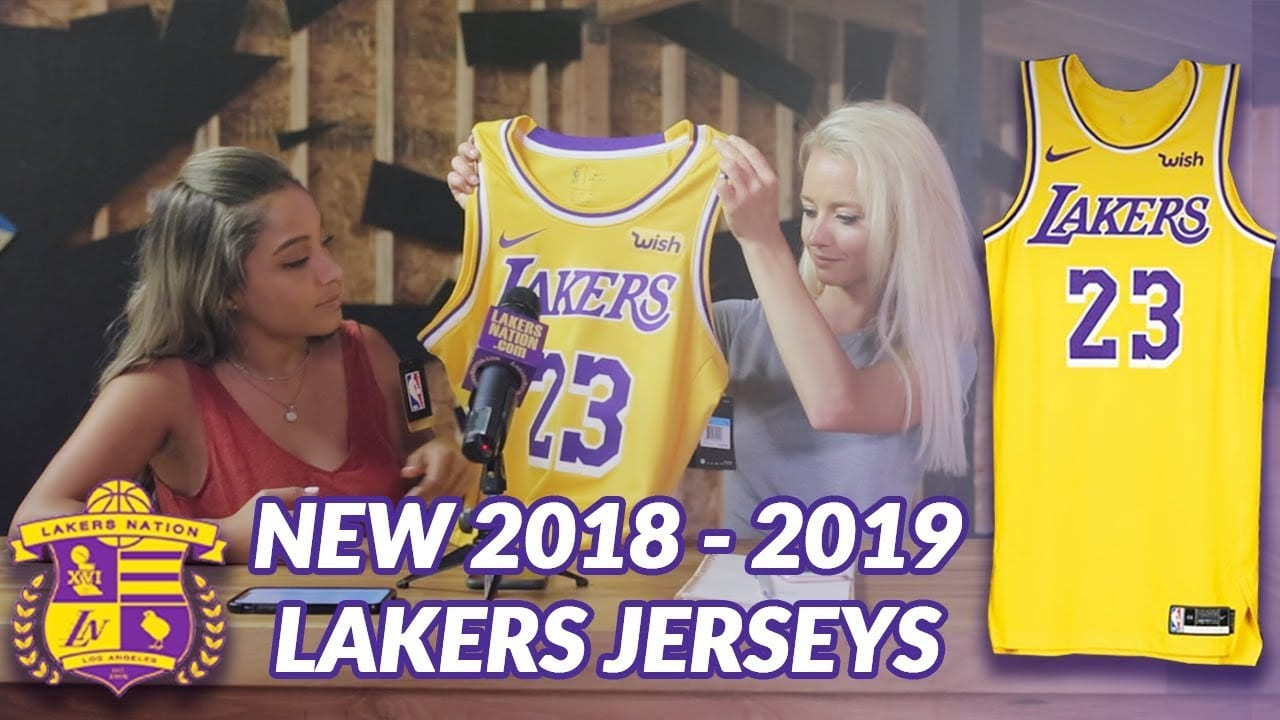 b40c933fb07 VIDEO  First In-Person Look At Lakers New Nike Jerseys