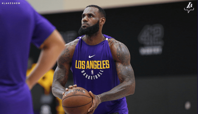 6c8a66759e43 Lakers Video  LeBron James Works Out With Brandon Ingram
