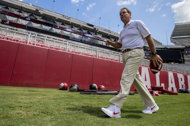 Nick Saban, Alabama Crimson Tide football practice