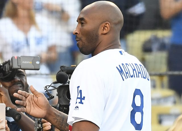 a16c5ae6121f Lakers Video  Kobe Bryant Reads Off Dodgers Lineup At Game 4 Of World Series