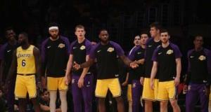 LeBron James, JaVale McGee, Sviatoslav Mykhailiuk, Rajon Rondo, Lance Stephenson, Moe Wagner, Ivica Zubac, Lakers