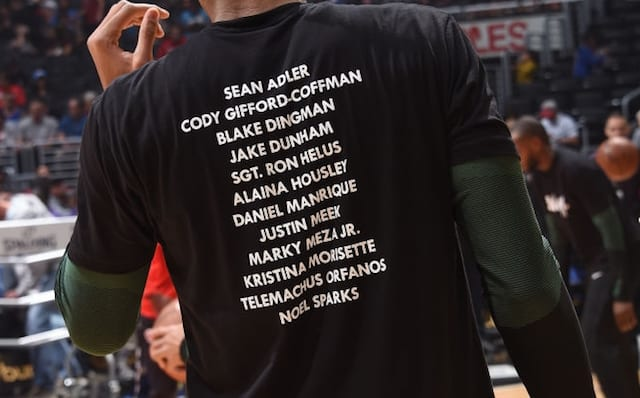 Giannis Antetokounmpo, Enough shirt, Thousand Oaks mass shooting victims