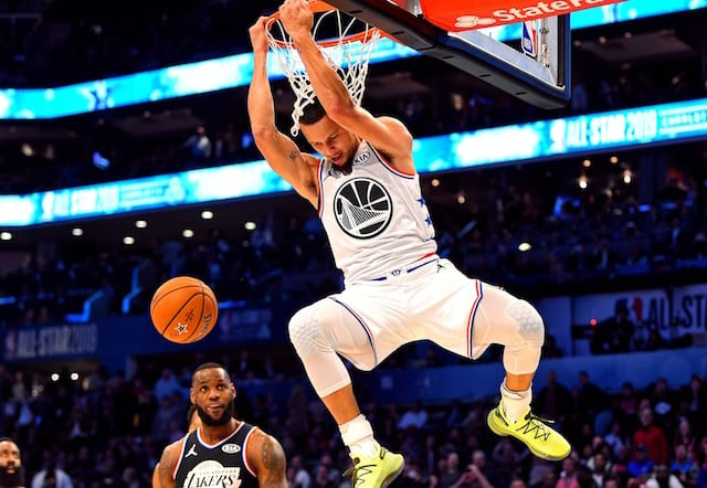 0736100941d 2019 NBA All-Star Game Charlotte  Steph Curry Considers Reverse Slam Dunk   Redemption  For Slipping Against Lakers. Bob Donnan-USA TODAY Sports