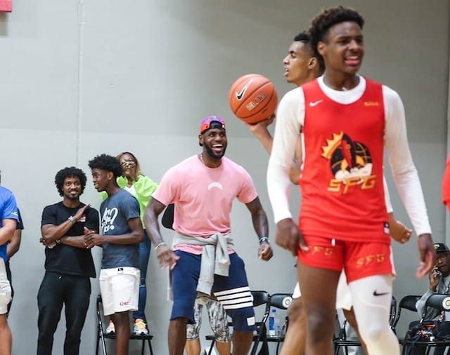 factory price fa52f b35da Lakers Video  LeBron James Helps Coach Bronny, Strive For Greatness At Nike  EYBL Game