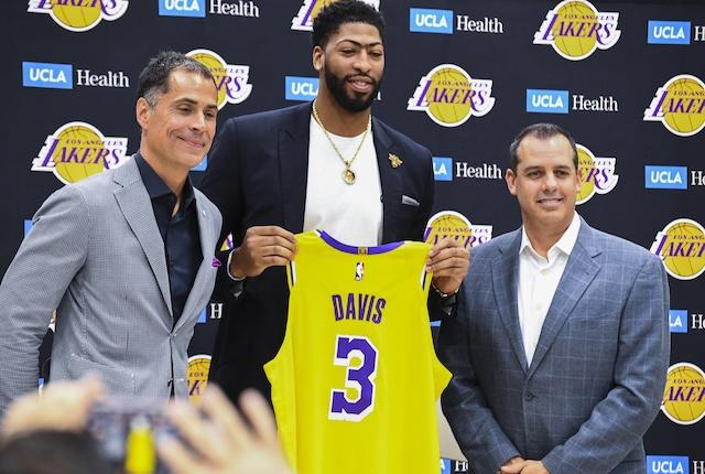 Anthony Davis, Frank Vogel, Rob Pelinka, Lakers