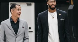 Anthony Davis and Los Angeles Lakers general manager Rob Pelinka arrive for the introductory press conference