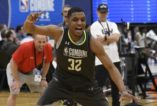 Zach Norvell Jr. participates in the 2019 NBA Draft Combine