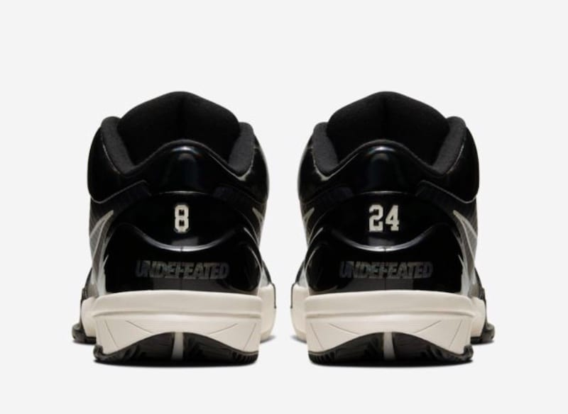 Official image of the Undefeated x Nike Kobe IV Protro 'Black Mamba'