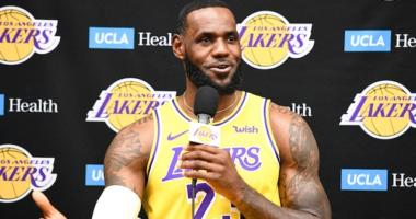 LeBron James during 2019 Los Angeles Lakers Media Day