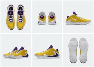 Official images of Zoom Greek Freak 1 that were designed by Los Angeles Lakers forward Kostas  Antetokounmpo for Opening Night of the 2019-20 NBA season
