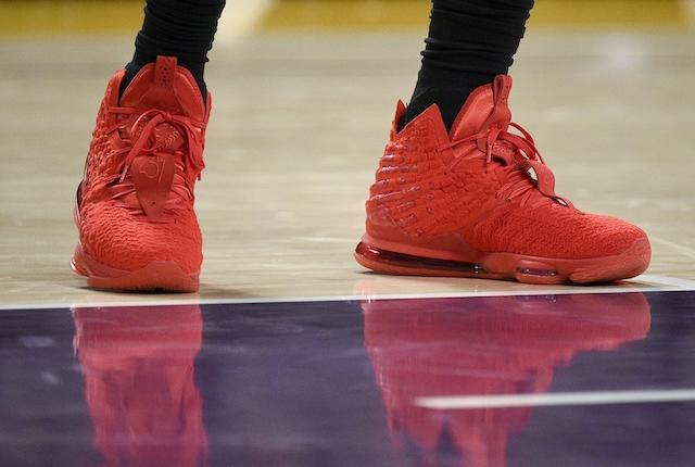 Los Angeles Lakers All-Star LeBron James wears the Nike LeBron 17 'Red Carpet'