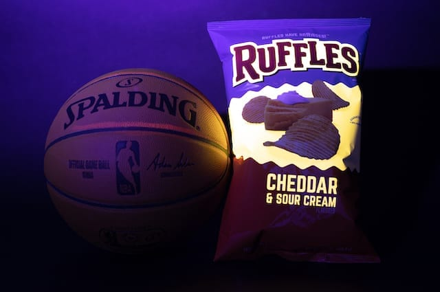 Limited edition glow in the dark bag of Cheddar & Sour Cream Ruffles designed specifically for Los Angeles Lakers All-Star Anthony Davis
