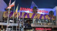 Exterior view of Staples Center before a Los Angeles Lakers home game