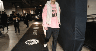 Los Angeles Lakers forward Kyle Kuzma arrives at Barclays Center