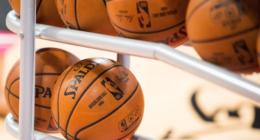 Basketballs, rack