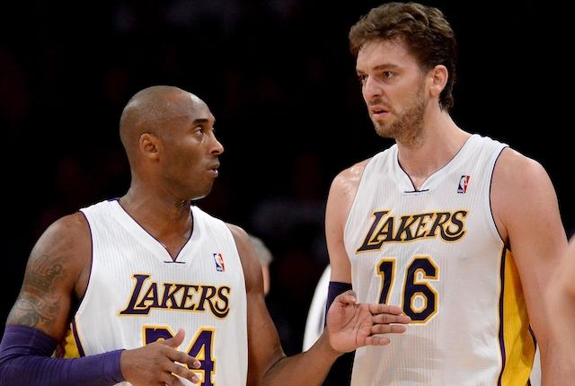 Former Los Angeles Lakers teammates Kobe Bryant and Pau Gasol