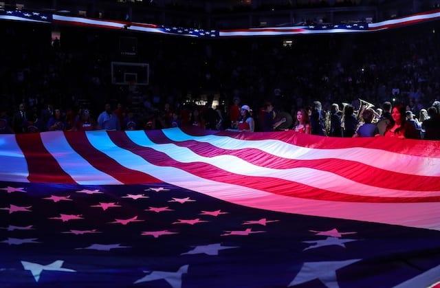 American flag, national anthem