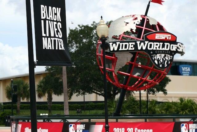 ESPN World Wide of Sports Complex logo, Black Lives Matter banner, NBA restart