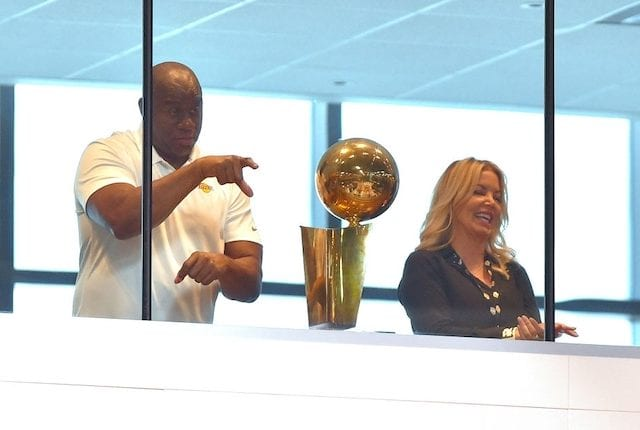 Jeanie Buss, Magic Johnson, Lakers championship trophy
