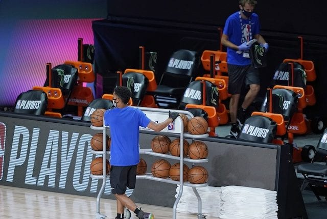 Basketballs, ball rack, cleaning bench, 2020 NBA Playoffs