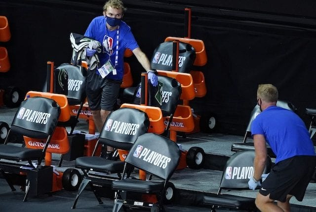 Cleaning bench, 2020 NBA Playoffs