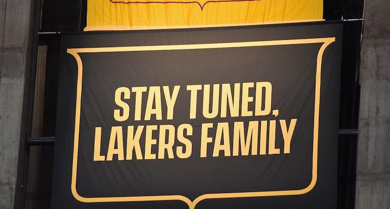 2020 Lakers championship banner covered